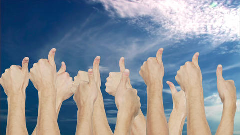 Crowd group simultaneously raising thumb up on blue sky background ビデオ