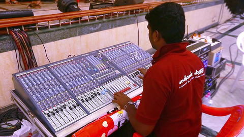 Sound designer working on the sound control Live Action