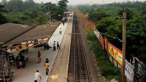 The passenger train arrival from the local Footage