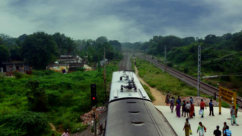 The passenger train departure from the local Footage