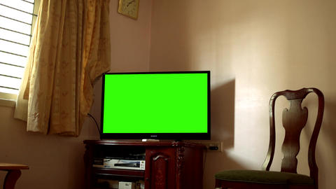 Green Screen TV In A Living Room Footage