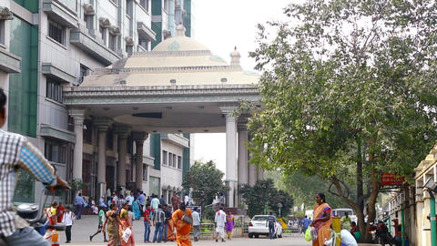 People walking outside at the Government Hospital at Chennai Live Action