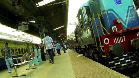 Diesel engine departure from Railway station platform Live Action