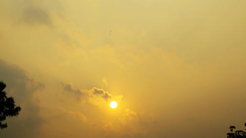 Evening sunset yellow color sky background Footage