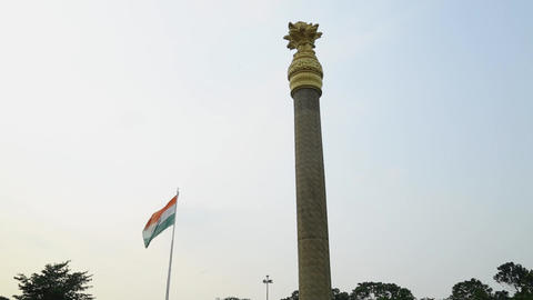 Indian Flag Flying at War Memorials in Chennai, Rajiv Gandhi Memorial - Rajiv Footage