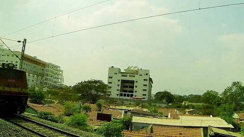 Indian Railways.view from the train window, View of train passing landscape Live Action