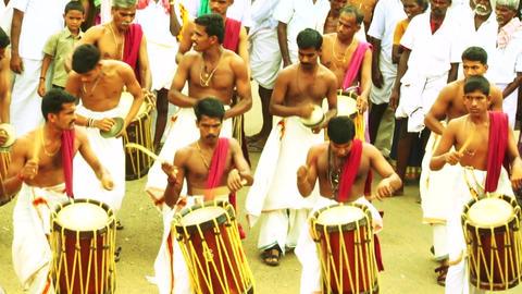 Musicians of the Chenda Melam rhythmic orchestra, Temple car festival Footage
