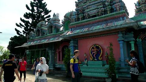 Hindu temple in Malaysia, Hindu devotees. tourist peoples Footage