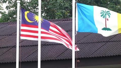 Malaysia and Penang flags waving Live Action