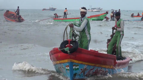 Fishermen delivering fish and seafood to fish market Live Action