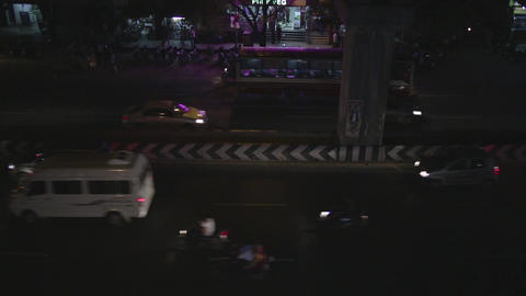 Top angle shot Time lapse shot of traffic on road in a city at night, Chennai Live Action