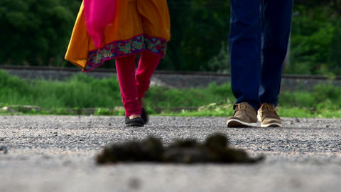 Young couple walking legs shot Footage