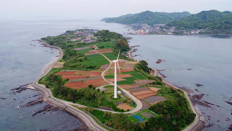 KUMAMOTO, JAPAN - aerial view of the island with a wind generator Footage