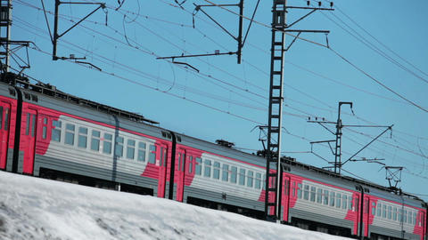 Electric passenger train winter Footage