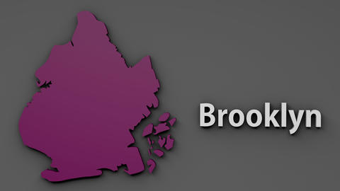 4K Brooklyn Map Shape with Matte 3D Animation 1 Animation
