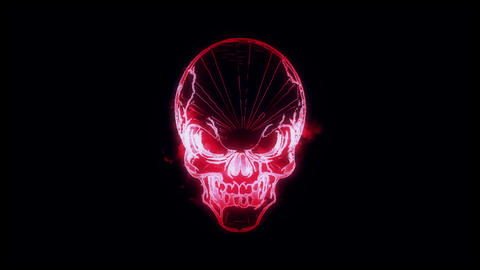 Red Burning Skull Animated Logo Loopable Graphic Element V1 Animation