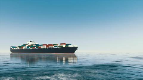 Brandless 3D cargo container ship at open sea Footage