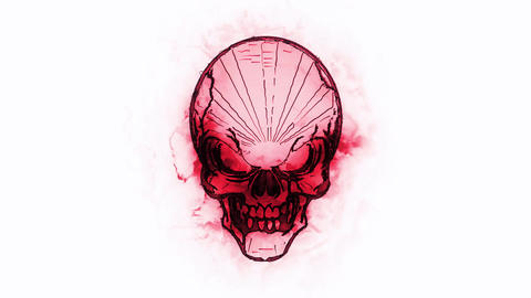 Red Burning Skull Animated Logo Loopable White Background V1 Animation