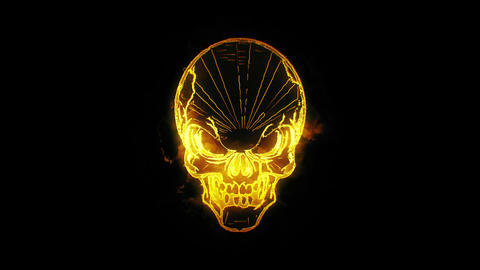 Gold Burning Skull Animated Logo Loopable Graphic Element V1 Animation