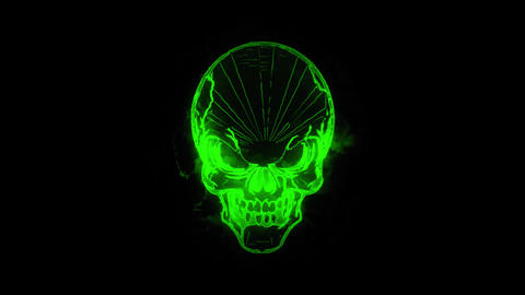 Green Burning Skull Animated Logo Loopable Graphic Element V1 Animation