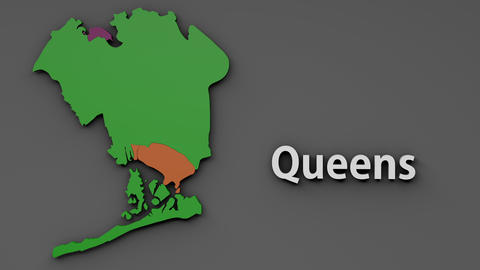 4K Queens Map Shape with Matte 3D Animation 1 CG動画素材
