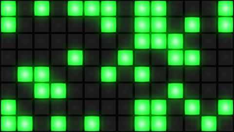 Green Disco nightclub dance floor wall glowing light grid background vj loop Animación
