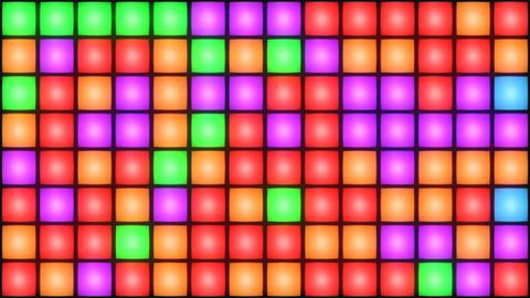 Colorful Disco nightclub dance floor wall glowing light grid background vj loop Animación