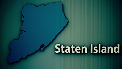 Staten Island Map Shape with Matte Old Film Style 3D Animation 2 Live Action