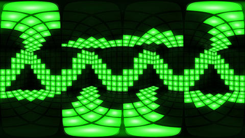 360 VR Green disco nightclub dance floor wall light grid background vj loop Animation