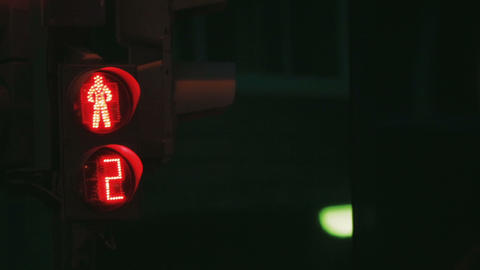 Traffic lights turn green red yelow. Green and Red bulbs... Stock Video Footage