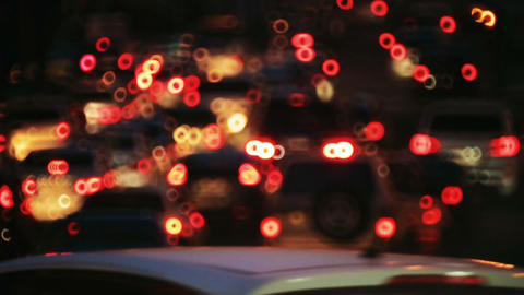 traffic car lights at night bokeh. drive on city. night city with automobiles Footage