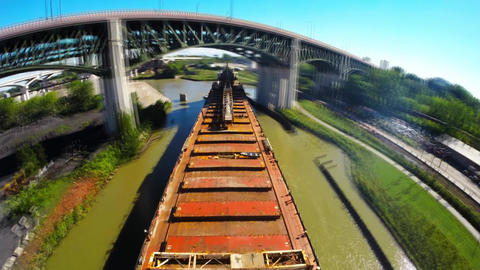 Ohio State in the USA. self discharging bulk freighter backs into position at Footage