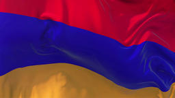 Armenia Flag in Slow Motion Smooth blowing in wind seamless loop Background Animation
