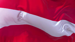 Austria Flag in Slow Motion Smooth blowing in wind seamless loop Background Animation