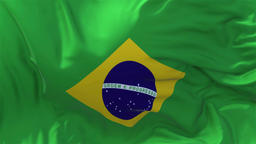 Brazil Flag in Slow Motion Smooth blowing in wind seamless loop Background Animation