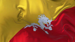 Bhutan Flag in Slow Motion Smooth blowing in wind seamless loop Background Animation