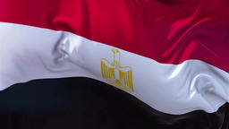 Egypt Flag in Slow Motion Smooth blowing in wind seamless loop Background Animation