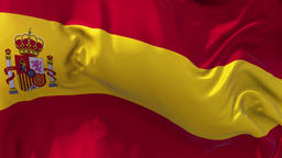 Spain Flag in Slow Motion Smooth blowing in wind seamless loop Background Animation