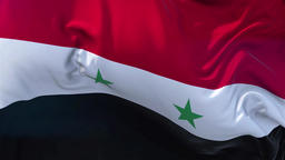 Syria Flag in Slow Motion Smooth blowing in wind seamless loop Background Animation