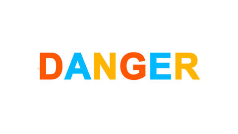 text DANGER from letters of different colors appears behind small squares. Then Animation