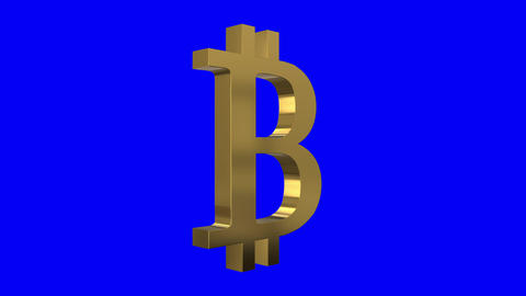 Shiny Spinning Bitcoin Sign Screen Animation