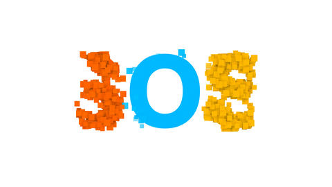 text SOS from letters of different colors appears behind small squares. Then Animation
