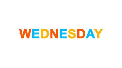 day of the week WEDNESDAY from letters of different colors appears behind small Animation