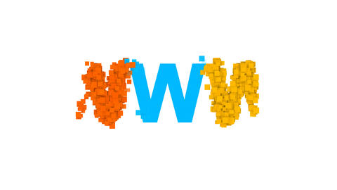 abbreviation WWW from letters of different colors appears behind small squares Animation