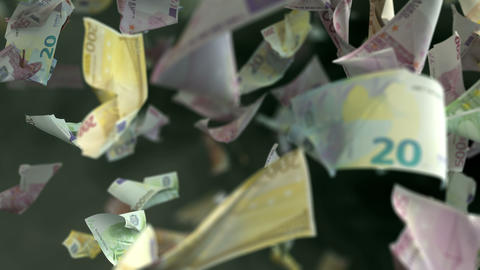 Falling Euro banknotes in 4K Loopable Animación