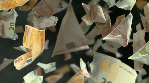 Falling Euro banknotes in 4K Loopable Image