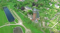 MUELHEIM / GERMANY - MAY 07 2016 : Castle Styrum and Aquarius in the sun, aerial Footage