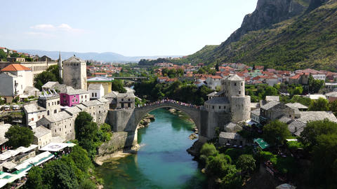 Panorama of The Old Bridge in Mostar in a beautiful summer day, Bosnia and Footage