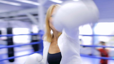 Boxing businesswoman on the boxing ring Footage