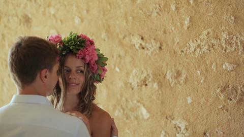 Portrait of beautiful gentle loving couple, gentle embraces Footage